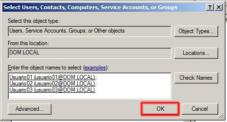 Seleccionar Usuarios, Contactos, Equipos, Cuentas de servicio o Grupos.