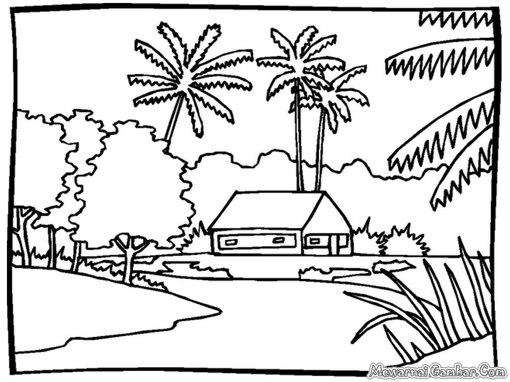 Pemandangan Gunung Dan Sawah Kartun