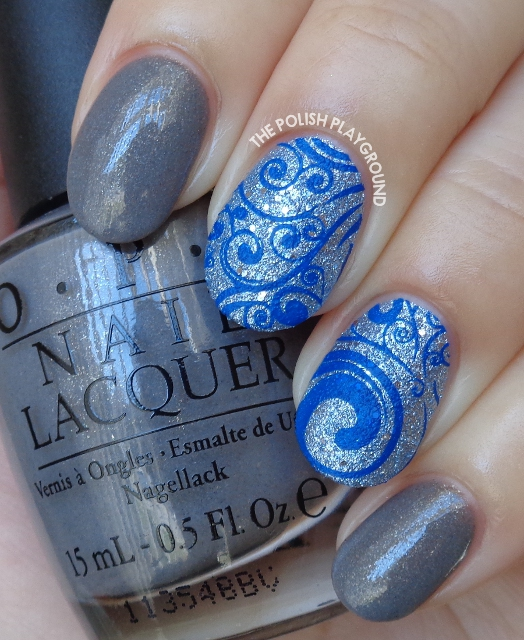 Grey with Blue Texture and Dark Blue Swirls Stamping Nail Art