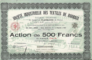 a French share in the Société Industrielle des Textiles de Roubaix