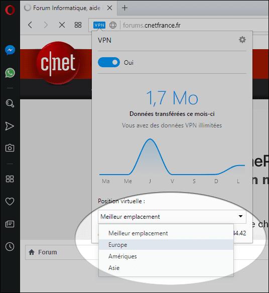 خيارات الــ vpn في متصفح Opera