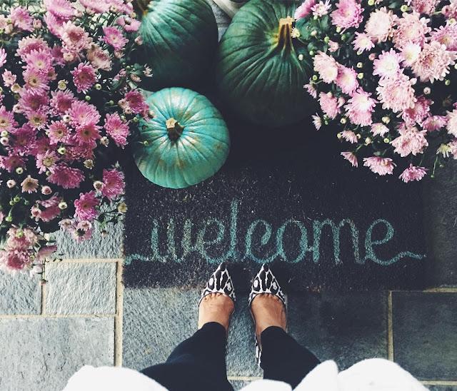 Blue Cinderella pumpkins, pink mums, and a warm welcome mat by Gwen Moss