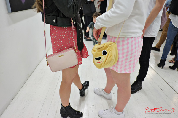 Mui Mui handbag and teddy bear head handbag.. Photographed by Kent Johnson for Street Fashion Sydney.