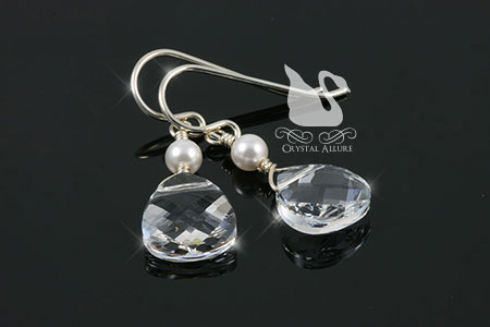 Crystal Briolette Pearl Drop Earrings (ECP069)