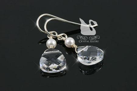 Crystal Briolette Pearl Drop Earrings (ECP069)