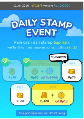Daily stamp event cashtree