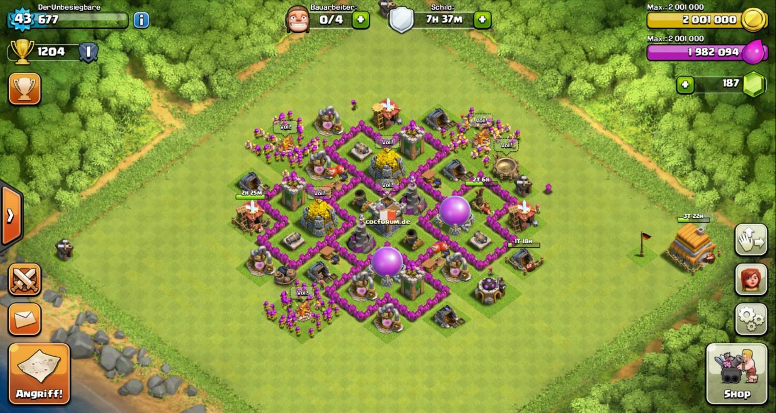 clash of clans rathaus level 6
