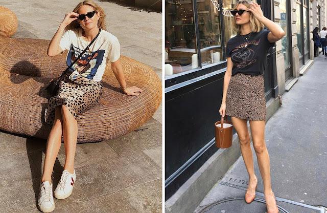 Короткая леопардовая юбка с футболкой
