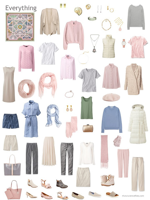capsule wardrobe in beige with pink, blue and ivory accents