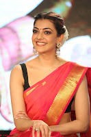 Kajal Aggarwal in Red Saree Sleeveless Black Blouse Choli at Santosham awards 2017 curtain raiser press meet 02.08.2017 039.JPG