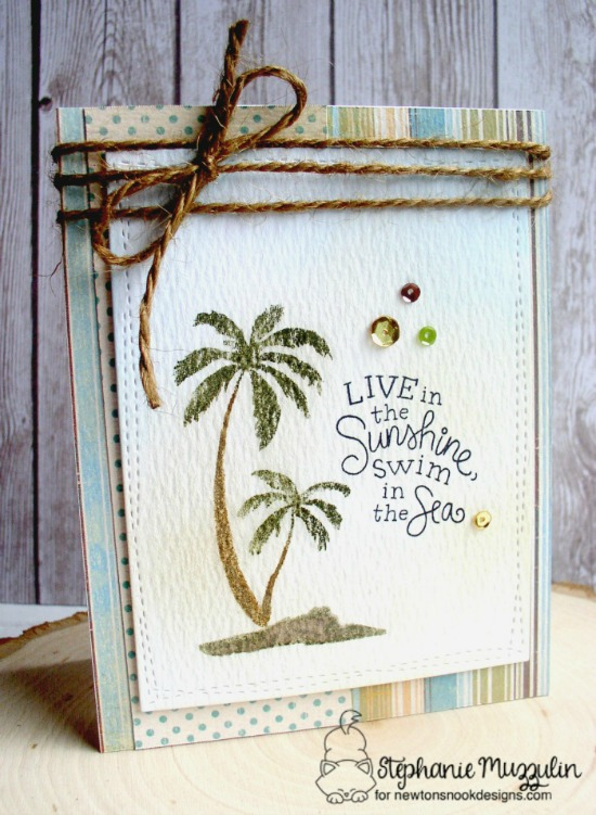 Palm Tree Summer Card by Stephanie Muzzulin | Paradise Palms stamp set by Newton's Nook Designs #newtonsnook