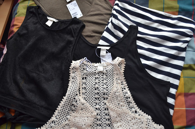 H&M jersey vest tops, crop top, striped bandeau top and crochet wasitcoat