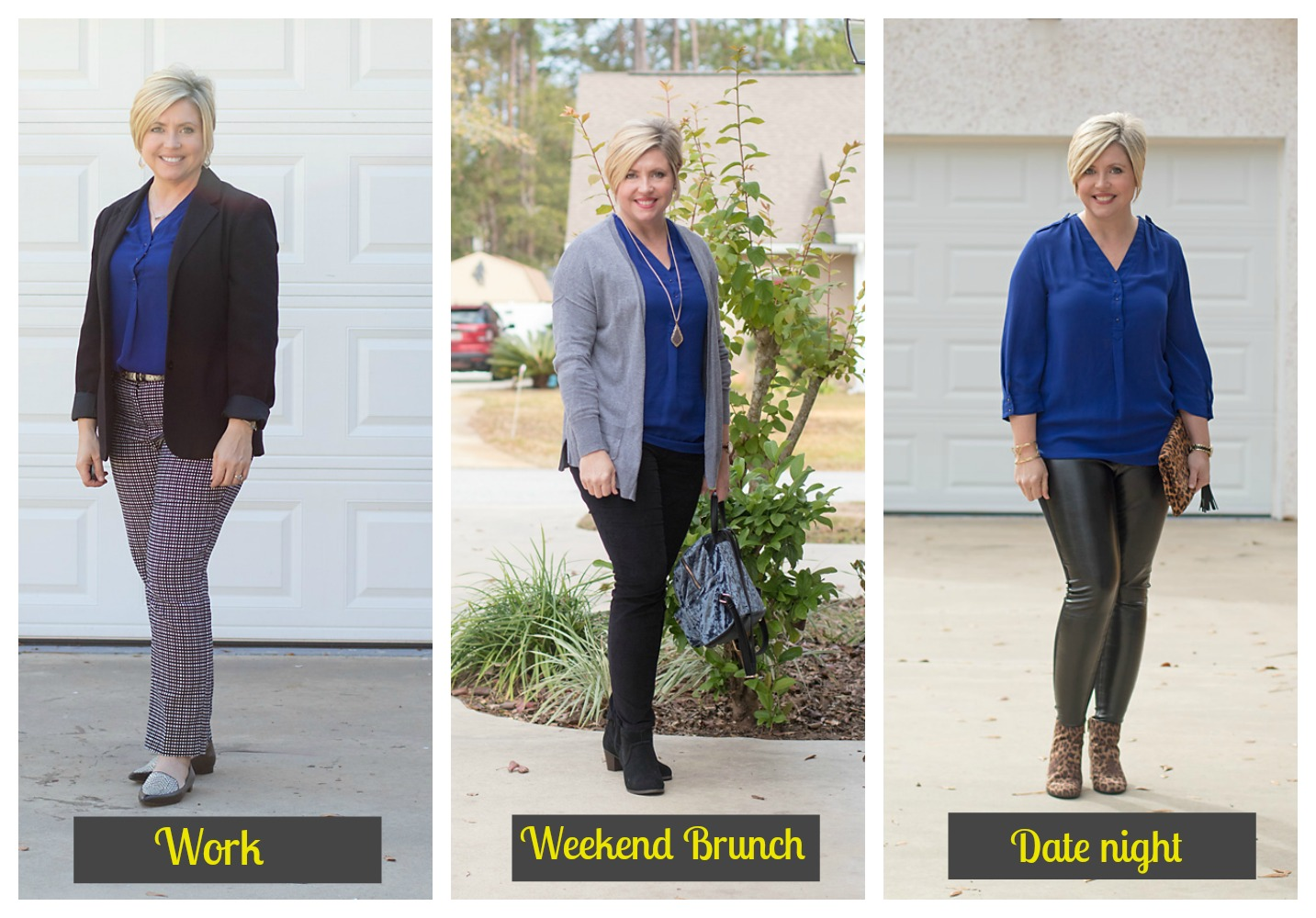 3 ways to wear a blue tunic top