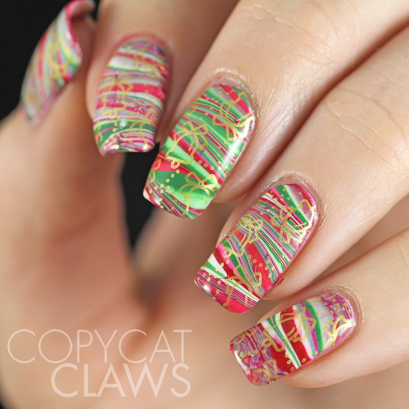 Copycat claws hpb presents christmas water marble nail art hpb presents christmas water marble nail art prinsesfo Gallery