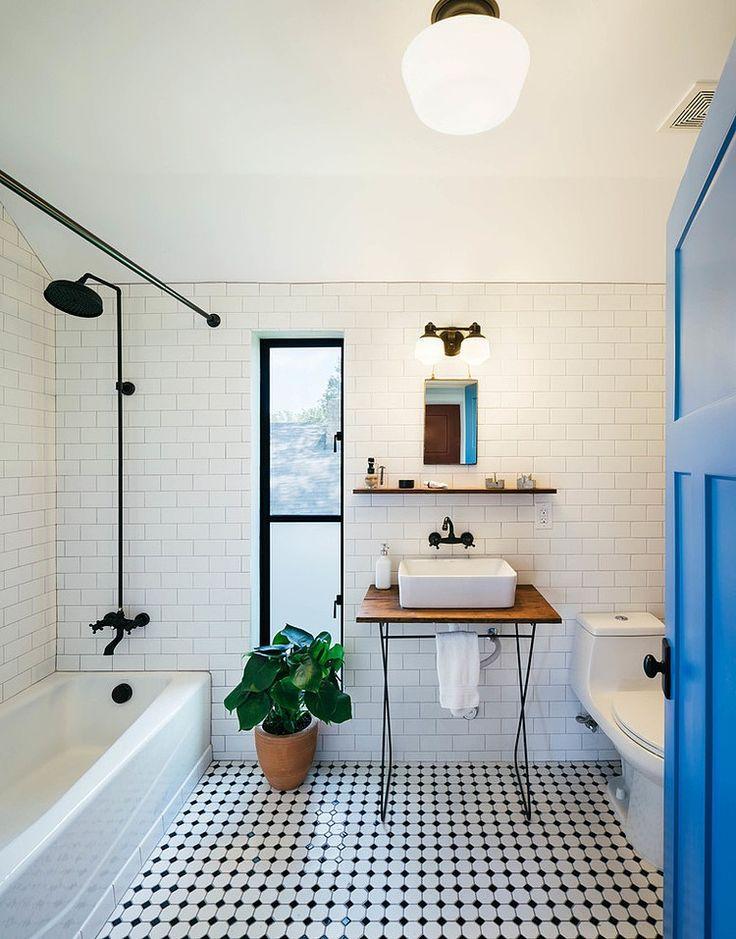 Black and White Bathroom Tiles Farmhouse