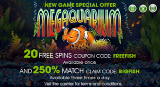 Megaquarium slot bonus from Raging Bull Casino