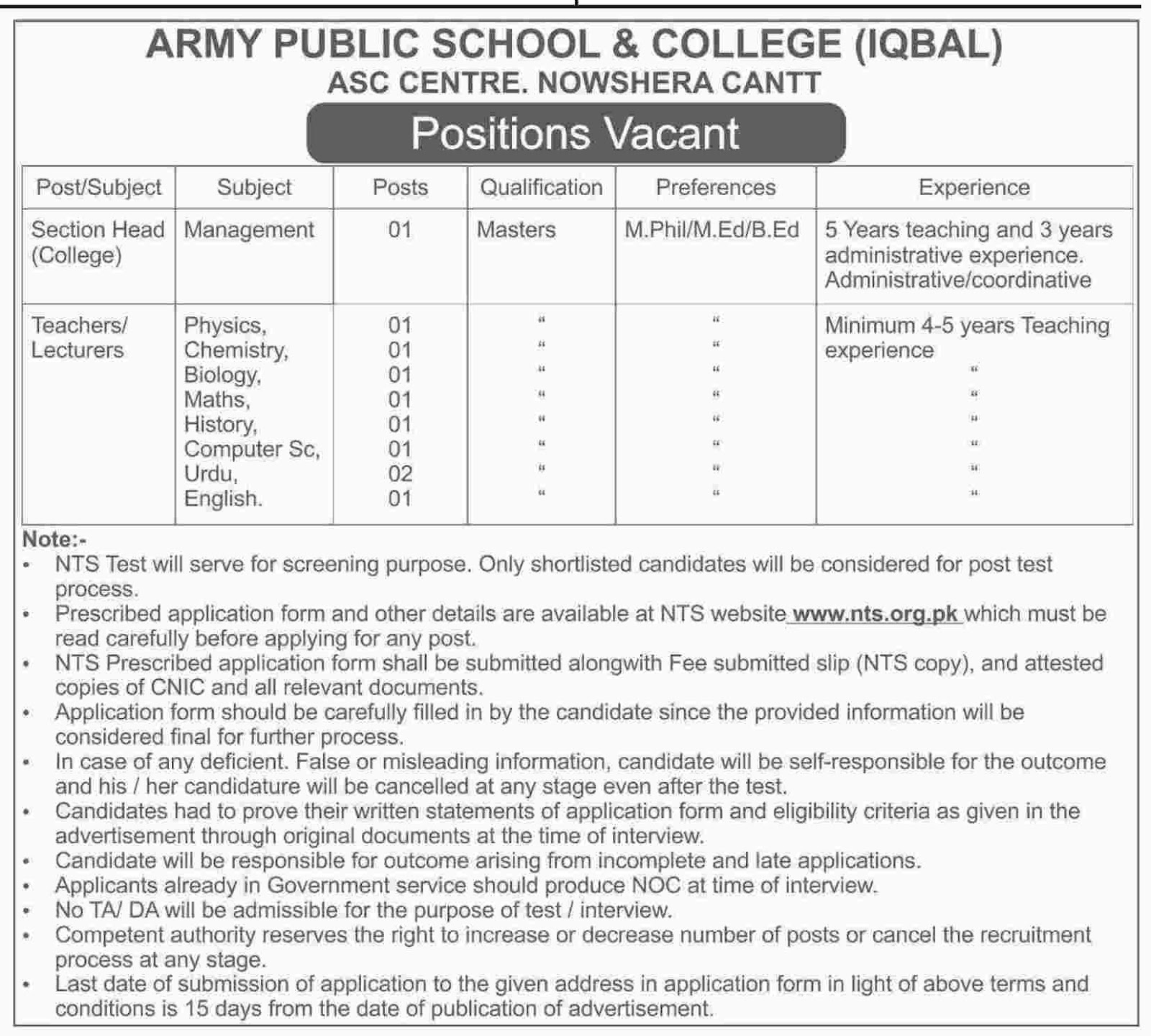 Teachers, Lecturers, Section Head Jobs In Army Public School And College Nowshera