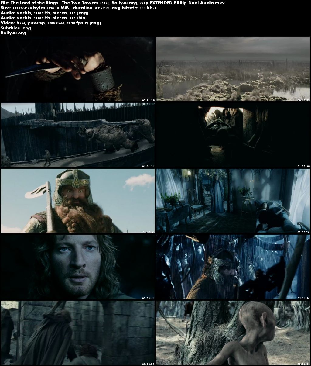 The Lord of the Rings The Two Towers 2002 BRRip 720p EXTENDED Dual Audio Download