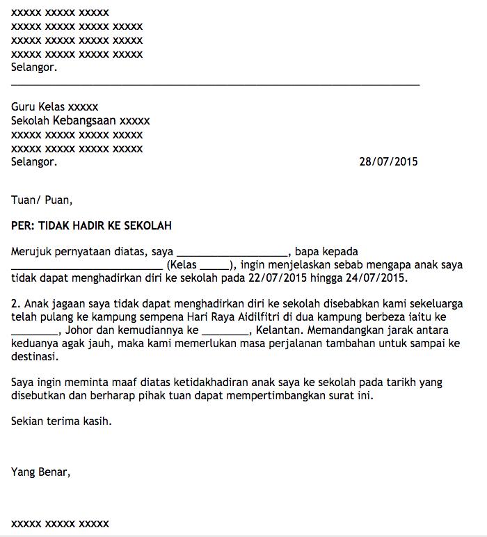 Anak Jawa Johor di Kelantan???: Contoh Surat Tidak Hadir