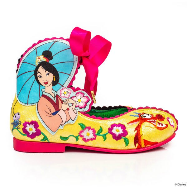 kids shoes in yellow with pink trim and Mulan applique and embroidery