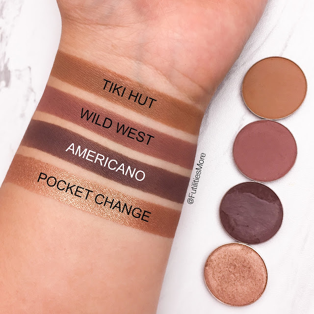 Makeup Geek quad idea #8, Tiki Hut, Wild West,  Americano, Pocket change, futilitiesmore, futilities and more, makeup geek swatches