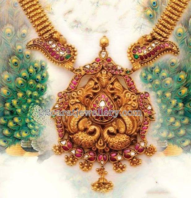 Antique Long Chain Nakshi Ruby Pendant