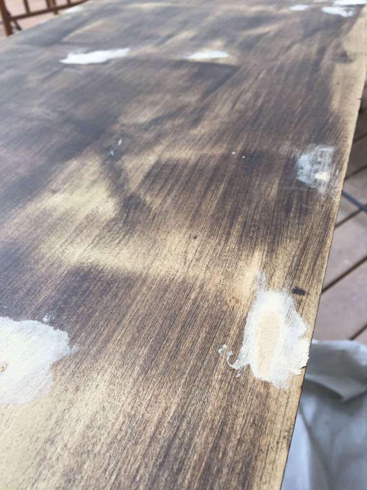 Wood filler used to patch holes.