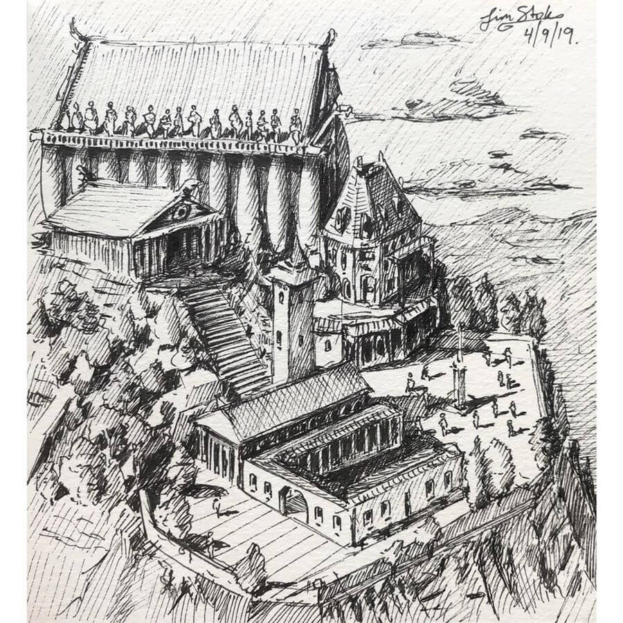 08-Hilltop-Temple-Tim-Stokes-Fantasy-and-Real-Life-Architecture-Drawings-www-designstack-co