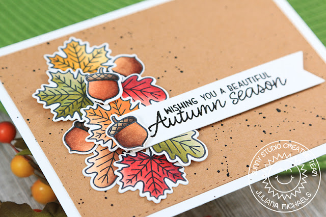 Sunny Studio Stamps: Beautiful Autumn Fall Swag Cluster Card by Juliana Michaels