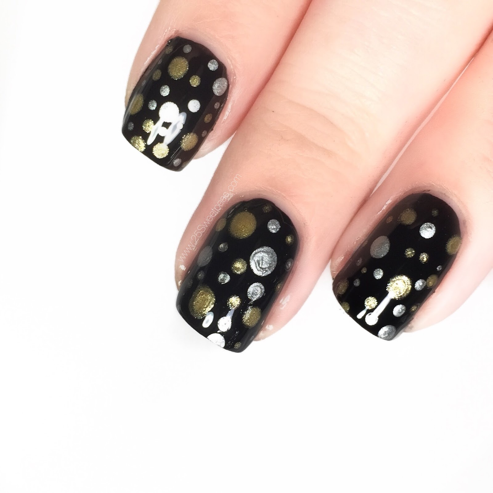 3 NYE Nail Art Looks | Using Only Dotting Tools - 25 Sweetpeas