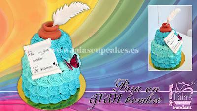 tarta personalizada manga pastelera fondant gran hombre abuelo persona tintero pergamino Laia's Cupcakes Puerto Sagunto