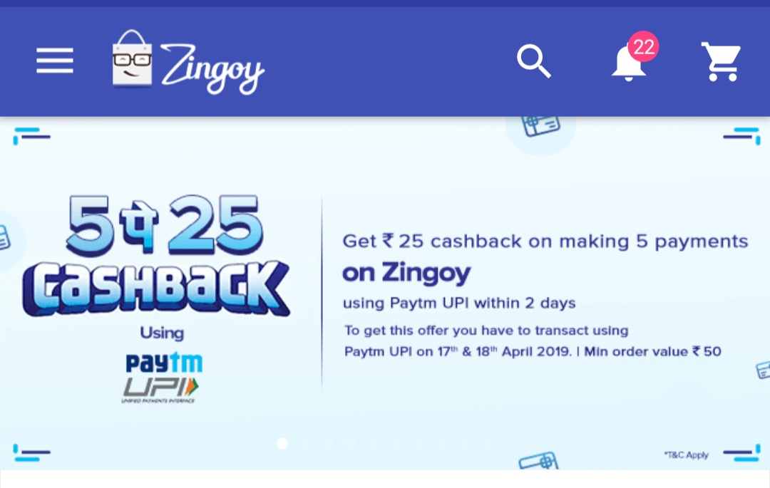 UPDATE- 17-18 April) Zingoy + Paytm UPI Cashback Offer (5pe