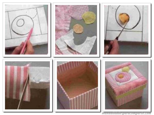 Manualidades para compartir manualidades patchwork cajas for Forrar cajas de carton con tela
