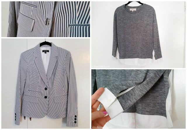 grey, gray, white, blue, seersucker, jacket, blazer, pockets, buttons, details, sweatshirt, crisp, shirt, top, style, fashion, women's clothing