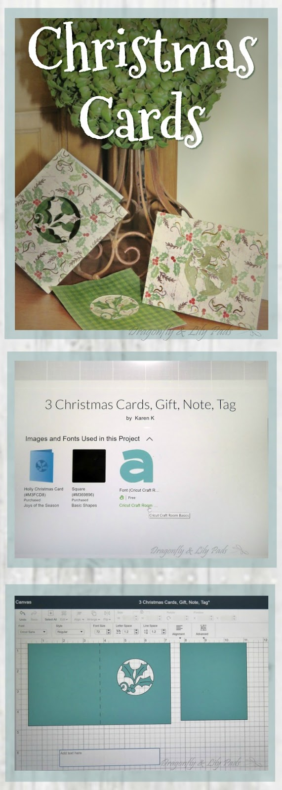 Christmas Gift Cards Pinnable Image made with holly and plaid cardstock.