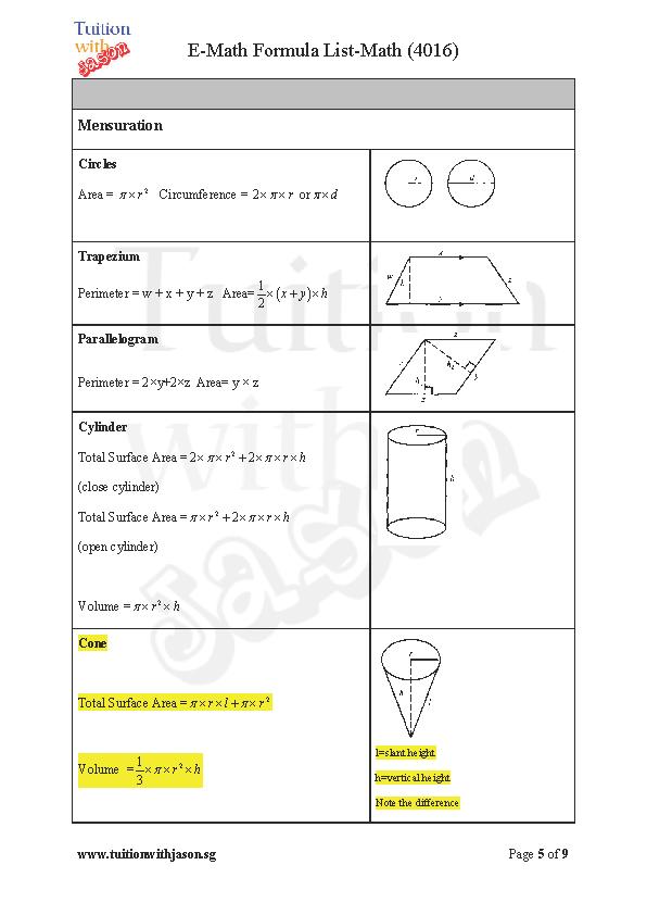 Additional Math (A-Math) And Math (E-Math) Formula Sheet for