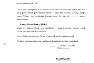 Contoh Proposal Ruang Kelas Baru (RKB) Format Ms.Word