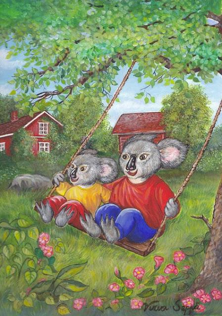 Two koalas having fun on a swing / Kaksi koalaa keinumassa