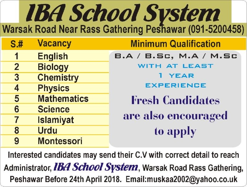 Fresh Candidates required in IBA School 2018