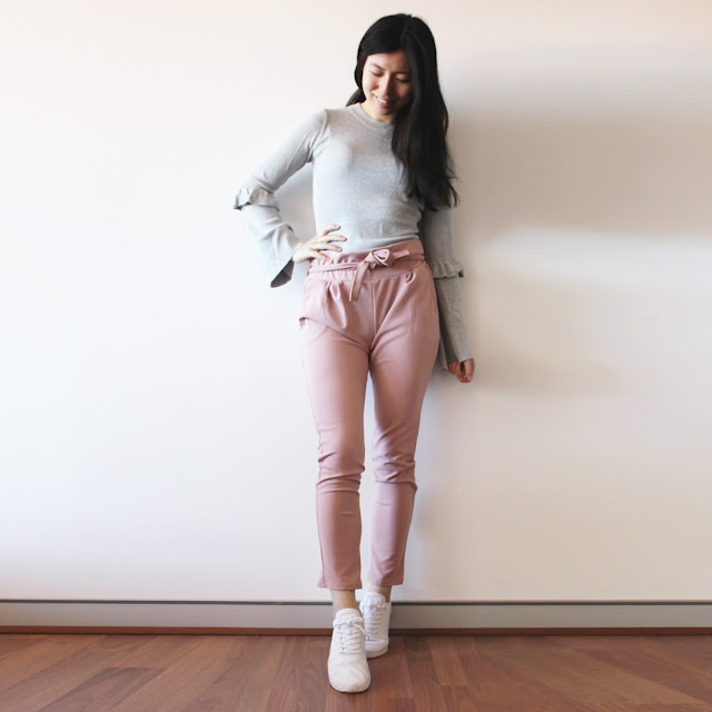 lasula review, lasula duster coat review, stone duster coat uk, nude tie paper bag waist trousers lasula, lasula trustworthy, lasula outfit, lasula blog review, lasula reviews, lasula grey trumpet sleeve top