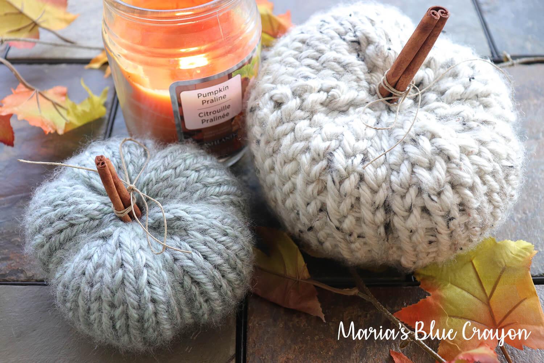 Chunky Crochet And Knit Pumpkins Free Patterns Marias Blue Crayon