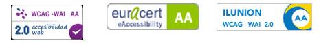 Tres logotipos: Tecnosite WCAG-WAI AA 2.0; Euracert eAccessibility AA; Ilunion WCAG-WAI 2.0 AA