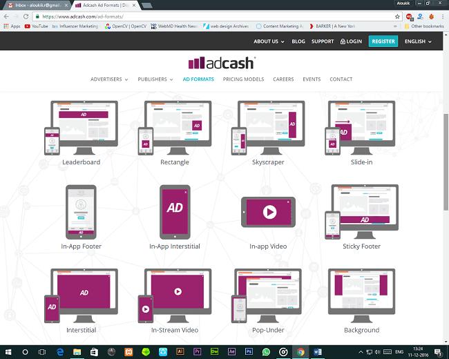 Adcash Ad Formats