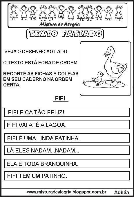 Textos Fatiados Para Organizar Atividades De Alfabetizacao