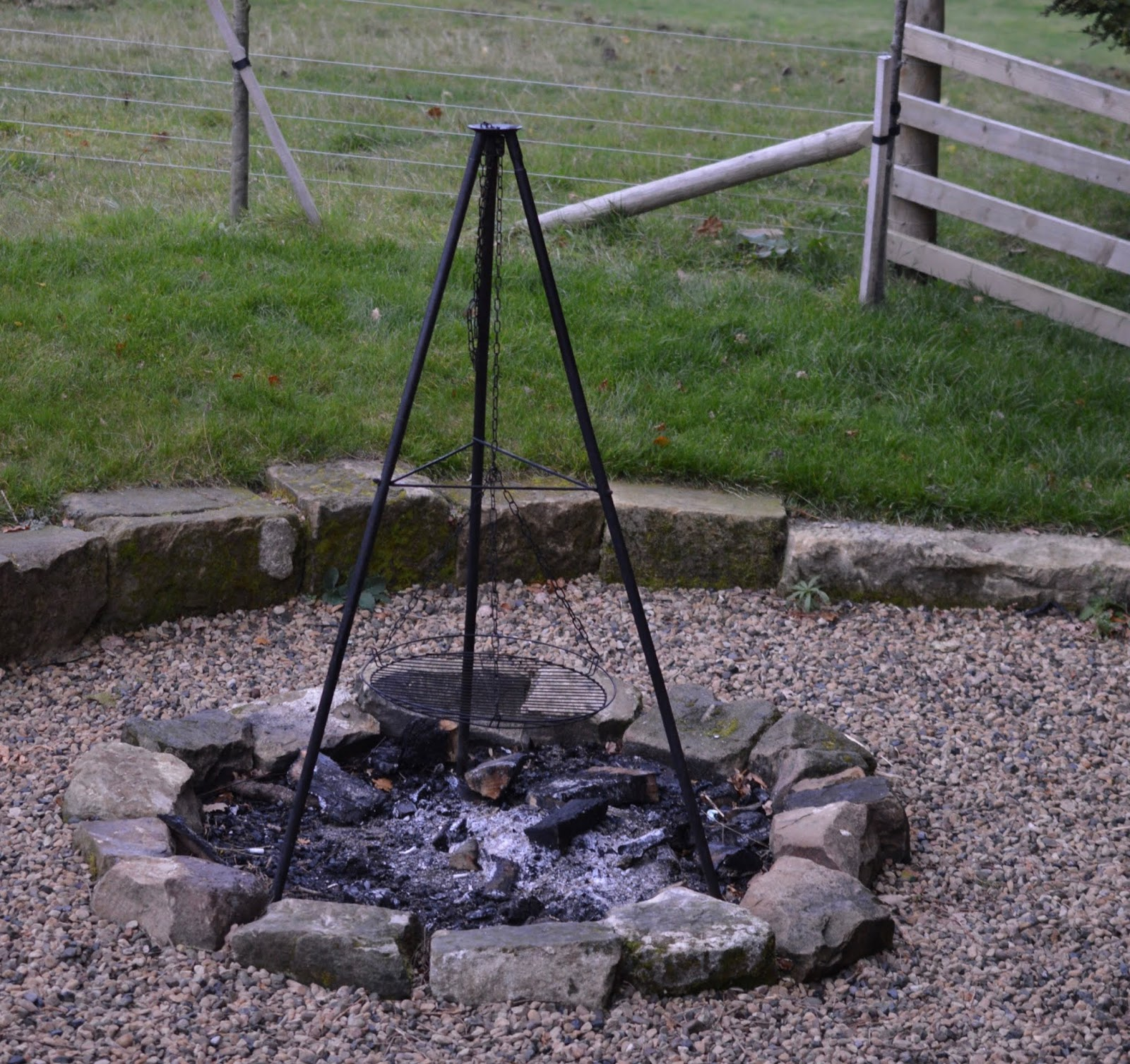 Experience Northumberland's Dark Skies with a Stay at Hesleyside Huts  - rowan hut fire pit