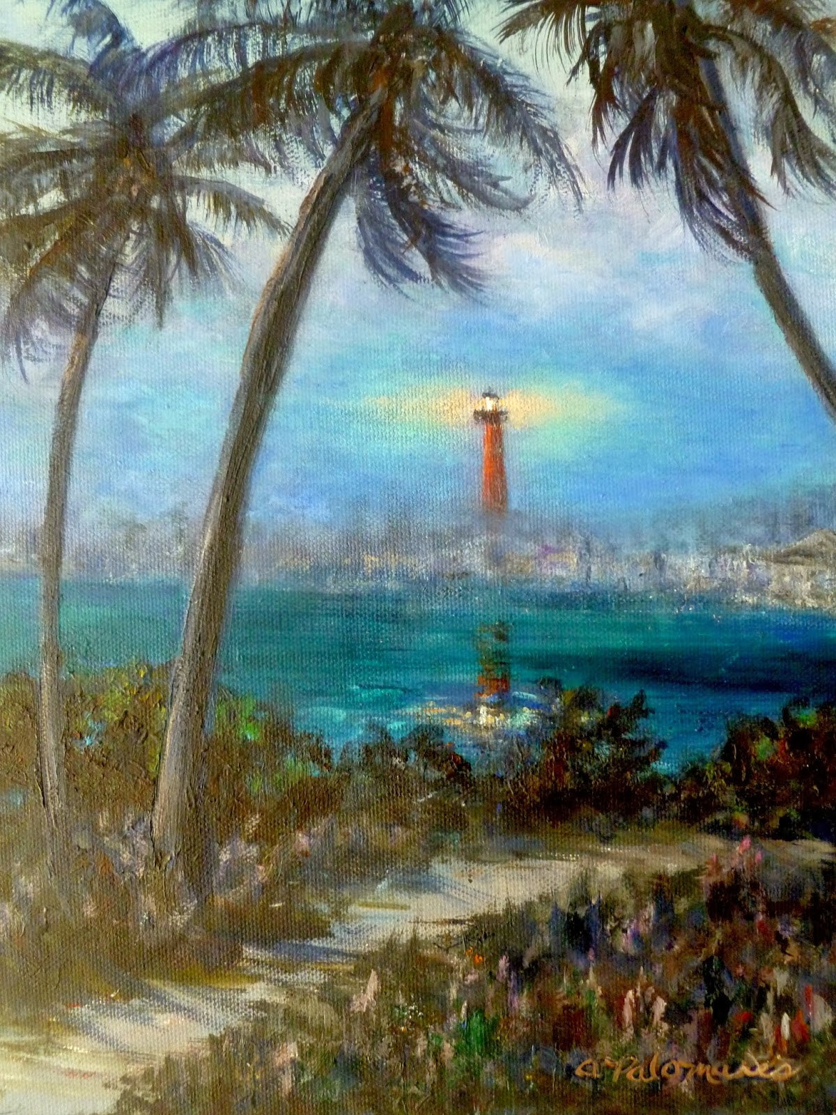 Painting of Palm Trees and the Jupiter Lighthouse