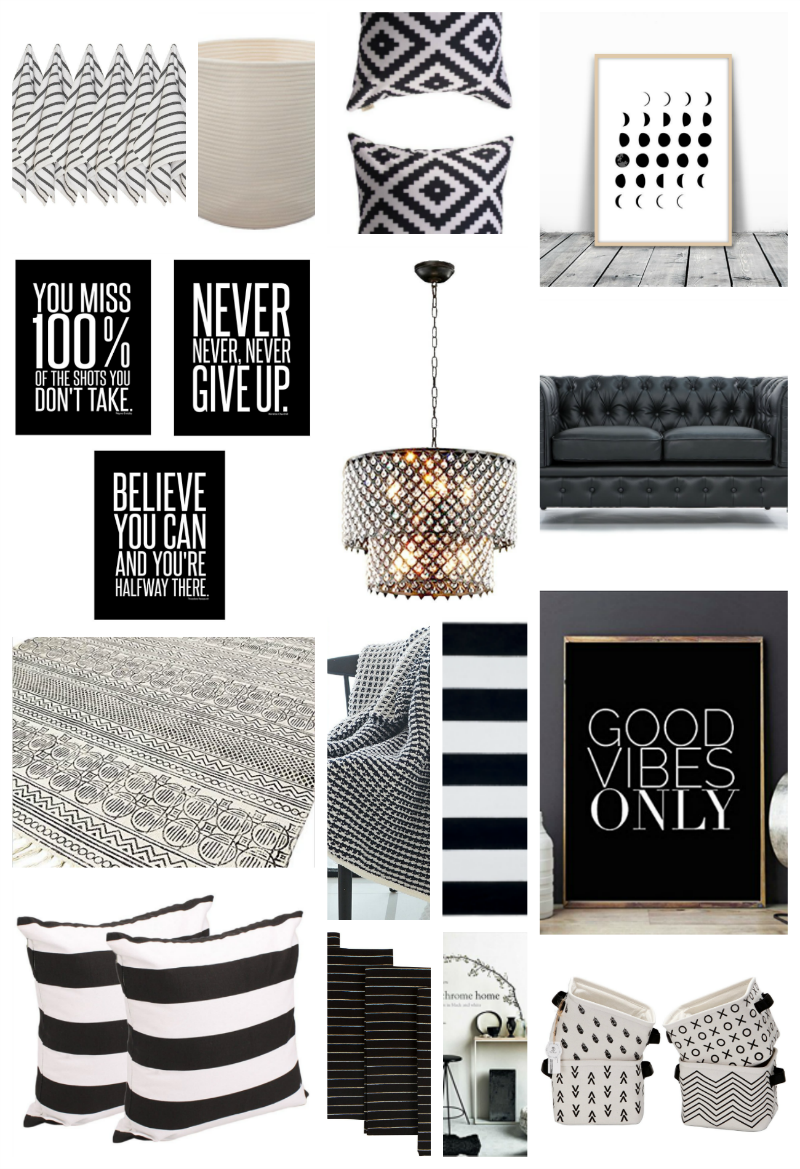 Home Decor Black And White Stripes Back