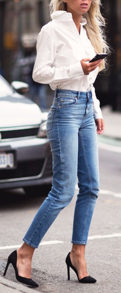 Jeans, High Heels and... a Simple White Shirt