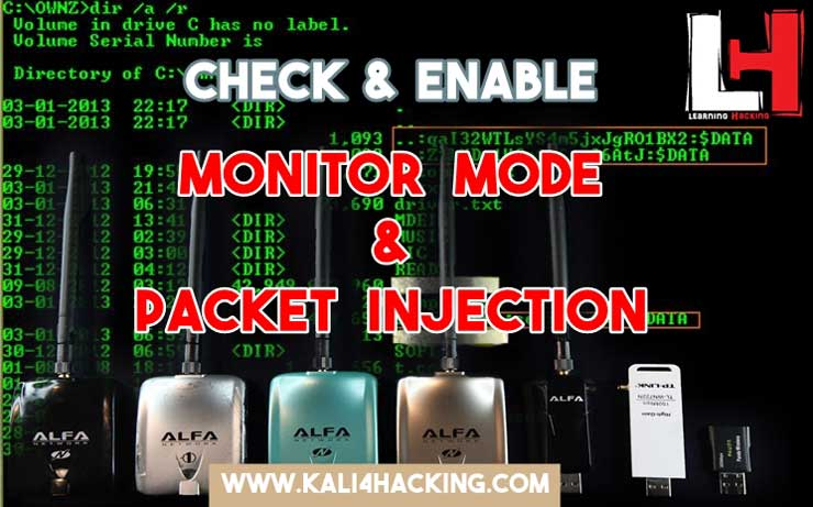 Kali 4 Hacking: Check and Enable Monitor Mode Packet