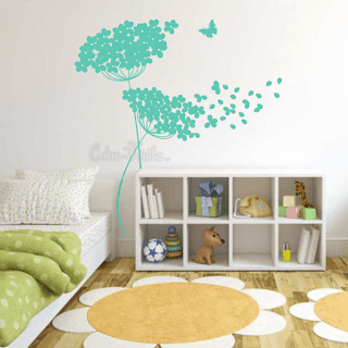 vinilo decorativo pared floral arbol diente de leon dandelion